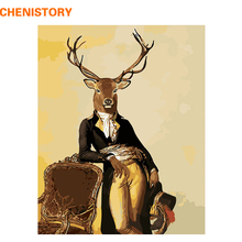CHENISTORY Gentleman Mr Deer DIY Painting By Numbers Handpainted Animals Paint By Numbers Kits Home Wall Art Picture Christmas