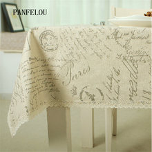 PANFELOU Romantic poetry writing style restoring ancient ways kitchen table cloth tea table cloth cover towel cloth(China)