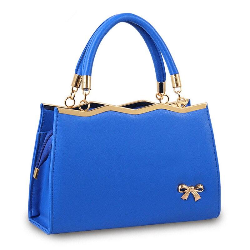 Elegant Blue PU Women Handbag Shoulder Bag Clutch Casual Crossbody Wave Bownot Decoration Zipper<br>