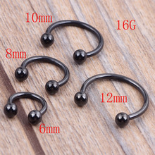 100pcs 1.2*6/8/10/12*3m Titanium Anodized Stainless Steel Black Circular Barbell Septum Piercing Balls Horseshoe Lip Nose Ring