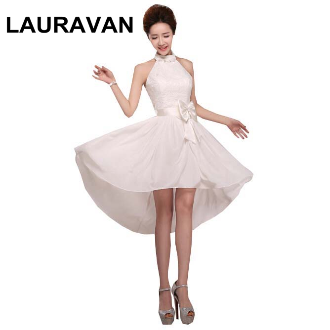 robe soiree short front long back high low ivory sexy formal dress bridesmaid girl dresses for weddings 2018 free shipping