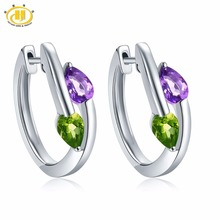 Hutang Earrings Natural Gemstone African Amethyst & Peridot Solid 925 Sterling Silver Fine Jewelry For Women's Gift 2017 NEW