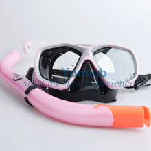 lovely food grade silicon safty tempered glass snorkeling Mask & Snorkel combo Set for little girl