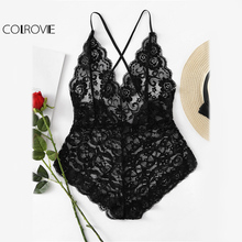 COLROVIE Black Sheer Lace Sexy Bodysuit Scalloped Edge Women Strap Cross Back Bodysuits Fall 2017 Fashion Basic Skinny Bodysuit(China)