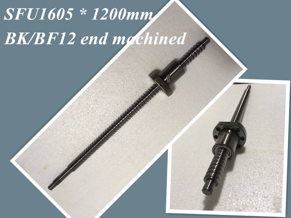 SFU1605 1200mm Ball Screw Set : 1 pc ball screw RM1605 1200mm+1 pc SFU1605 ball nut cnc part standard end machined for BK/BF12<br>