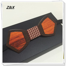 New Design Hip Hop Jewelry Solid Good Quality Mosaic Wood Bow Tie Butterfly For Men Bowtie