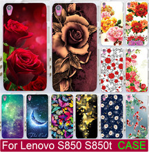 Beautiful Flower Rose Peony Tulip Fish Swan Hood PC Paiting Cases For Lenovo S850 S850t Cell Phone Case Cover Shell Capa