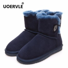 UOERVLE Brand Snow Boot 2017 Australian Genuine Leather 100% Sheepskin Aknle Boot Women Button Wool Warm Short Shoes UO6852(China)