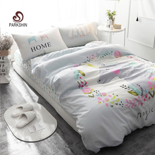 ParkShin King of Horns Printed Bedding Set Kids Bedspread Duvet Cover Set Cute 100% Cotton Bed Set With Flat Sheet 4Pcs