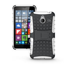 Heavy Duty Rugged Armor Case For Microsoft Nokia Lumia 730 550 Hybrid Silicone Phone Cases Shockproof Hard Cover With Kickstand(China)