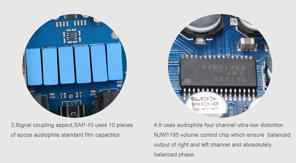 SMSL SAP-10 Balanced Desk Earphone Amplifier AMP Supports XLR Balanced / RCA Analog / 6.35mm Jack Output