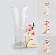 Free Shipping Anime Super Sonico Swimsuit Bikini Girl Hold Cup Noddles Press Boxed 11cm PVC Action Figure Collection Model Doll