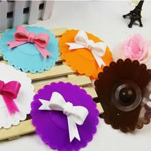 New Cute Anti-dust Silicone Glass Cup Cover Coffee Mug Suction Seal Lid Cap Silicone Airtight Bowknot Spoon Novelty