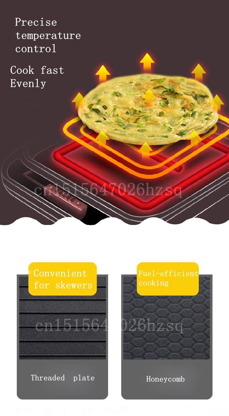 CUKYI 1300W Household double heating Electric Skillet multifunctional non-sticky kitchen helper baking pan