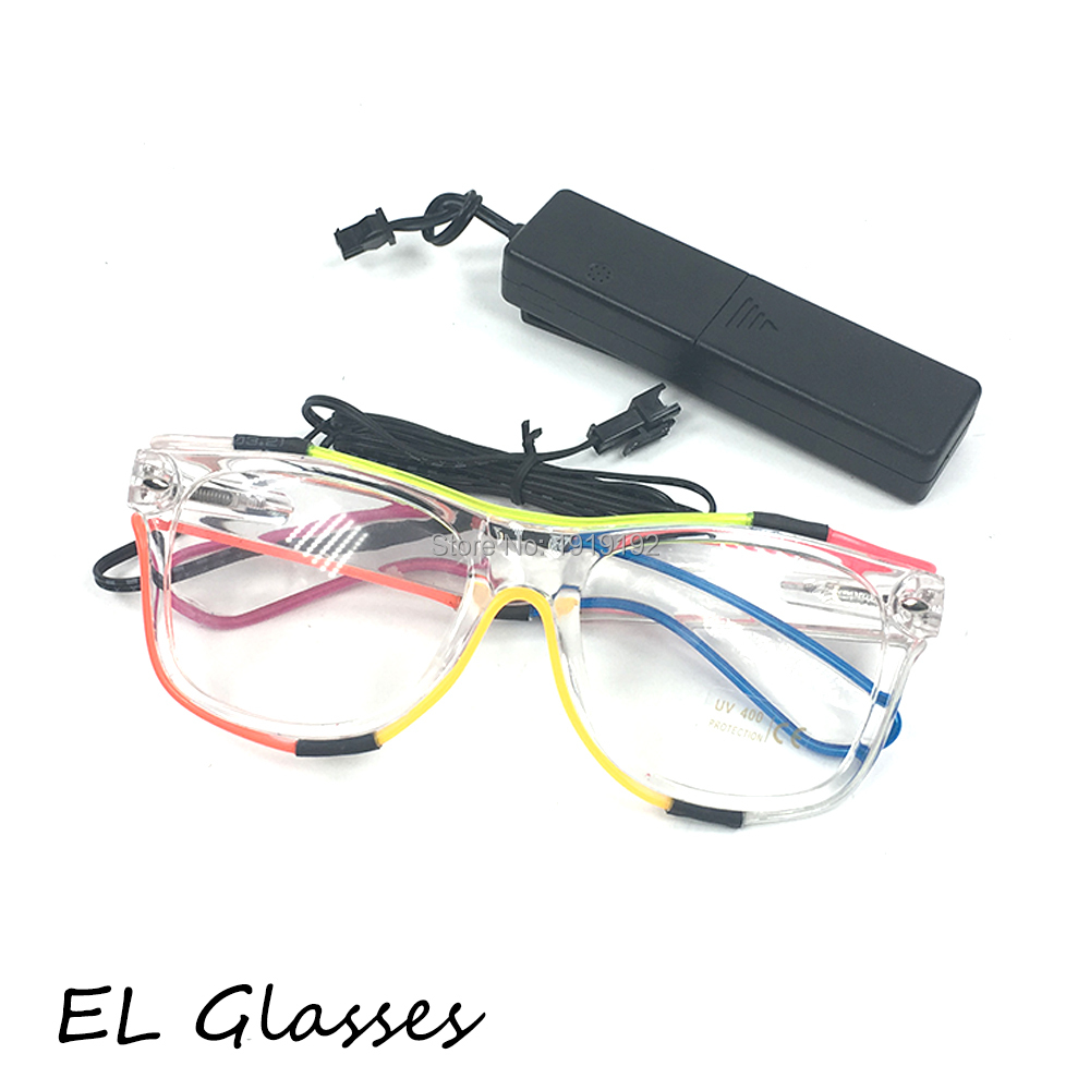 10 pcs multicolor Glowing EL Glasses Flashing Music Led Glasses with sound Activated for Halloween festival Wedding Party Decor