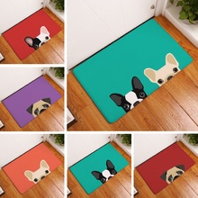 Door Mat Pugs Dog Printed Suede Rug Home Decoration Bathroom Carpet Bath Mat 50x80cm Outdoor Kitchen Toilet Funnny Floor Mat