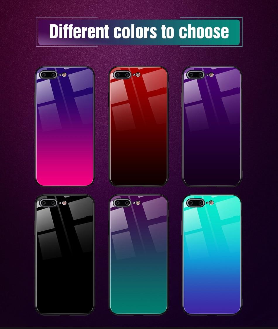 iPhone X Xr Xs Max豪华硅胶手机壳适用于iPhone 6的iPhone 7 8 Plus手机壳适用于iPhone 6 6S Coque的渐变钢化玻璃保护套(12)