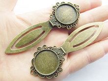 3pcs Antique Bronze Hair Kanzashi/Bookmark Base Setting Tray Bezel Pendant Charm,Fit 20mm Cabochon/Picture/Cameo,DIY Accessory
