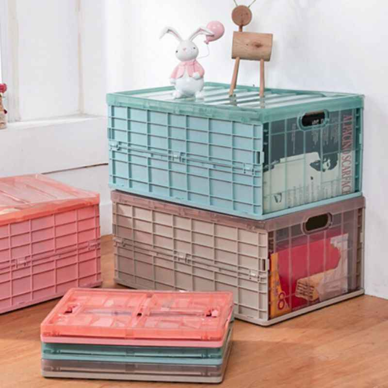 Plastic Folding Storage Box Organizer Case With Lid Waterproof Bedroom Car Storage Box Save Space For Blanket Clothes Books