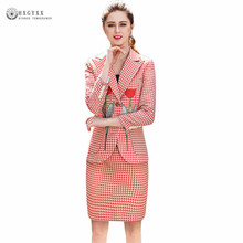 Pink Houndstooth Suit Woman 2018 New Spring Elegant Embroidery Blazer +Set Mini Bodycon Skirt 2 Piece lady Work Business Okb549(China)