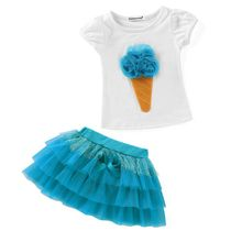 2017 New Summer Sweety kids Baby Girls Rose Flower T shirt +Skirt TUTU Party Dress Girls Outfits Sets