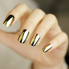 16 Tips Gold Nail Sticker Adhesive Patch 3D Metallic Mirror Design Decals Full Cover Unhas Foils Accessories Nail Art Decoration(China)
