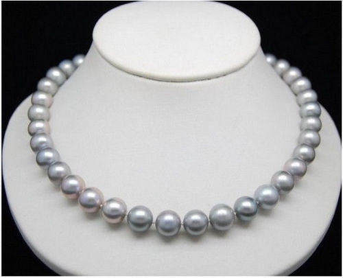 "HUGE AAA 10-11MM SOUTH SEA GENUINE GRAY PEARL NECKLACE 24"" 14kyellowGoldclasp"