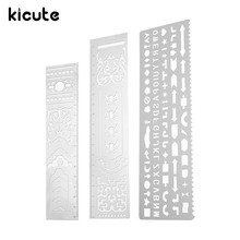 Kicute New DIY Stainless Steel Hollow Ruler Drafting Template Drawing Graphic Template Ruler Filofax Planner Agenda Diary Decor(China)