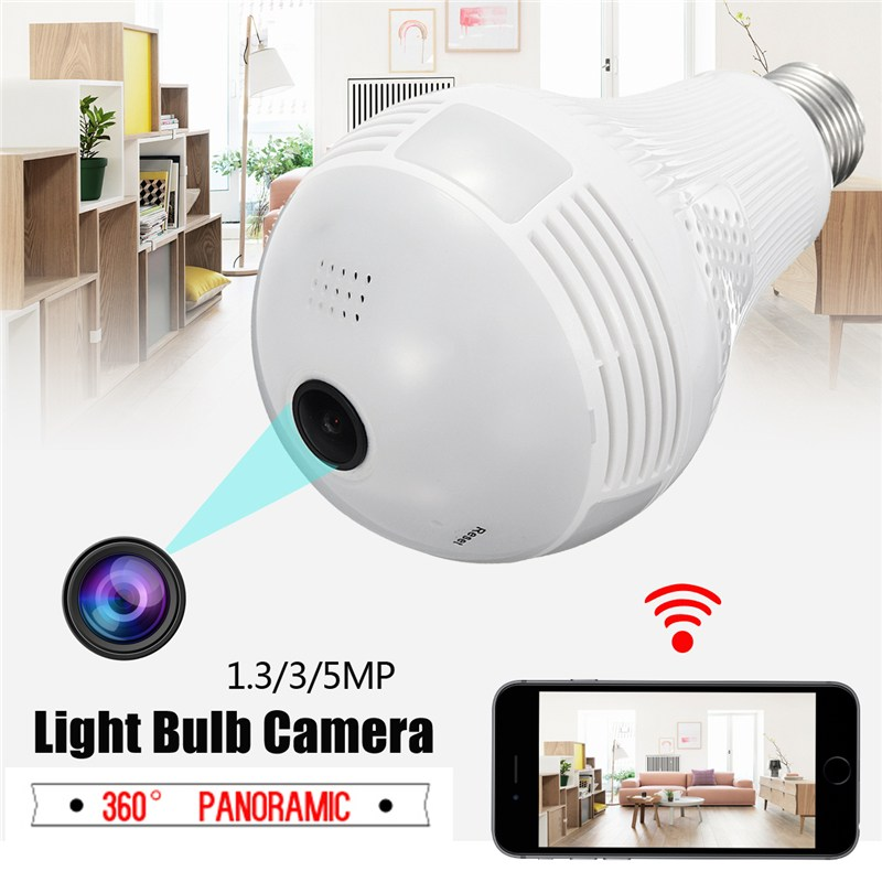 Wireless Panoramic Monitoring Camera VR 360 Degree Panoramic Home Security CCTV 2.4G WiFi Light Bulb Camera<br>