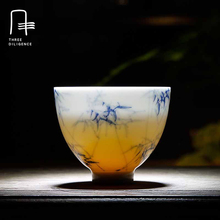 Hand-painted Blue and White Kung Fu Tea Cup Bamboo tea set Shadow Ceramic Jingdezhen Pu'er Small Cup samovar christmas christmas(China)