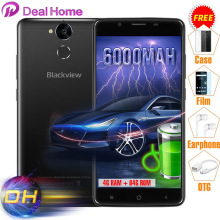 Gifts Pack Blackview P2 4G+64G 6000mAh 9V2A Quick Charge 5.5'' MTK6750T Octa Core Fingerprint ID 13.0MP Full Metal Mobile Phone