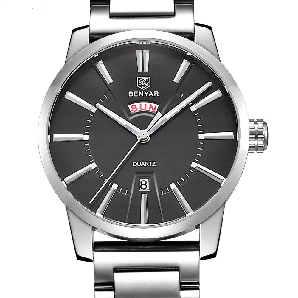 Mens 30M Waterproof Luxury Brand Analog Display Date Casual Watch Men BENYAR Quartz-watch Clock Relogio Masculino<br>
