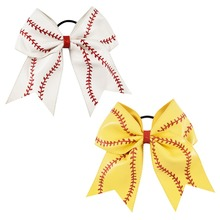 7Inch Boutique Baseball Leather Cheer Bows Hairbows For Girls Sports Hair Holder Hair Accessories Softbaoll Bows(China)