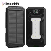 10000mAh Tollcuudda Solar Power Bank Dual USB Outdoor Sports External Battery Pack Portable Charger With LED Lighting Compass