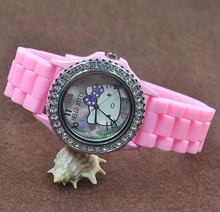 Fashion Cute Women Girl Hello kitty KT cat style crystal style Silicone strap Wrist Watch