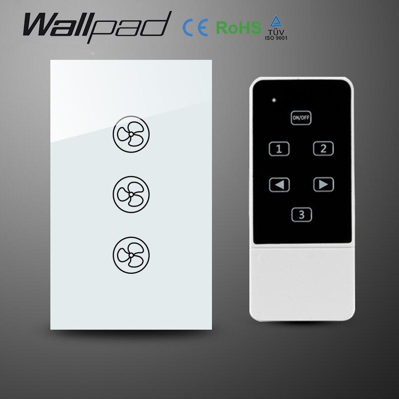 Wallpad 118 US AU Standard Crystal Glass White Wireless Remote control wall Fan touch switch,Wifi Fan Speed Switch,Free Shipping<br>
