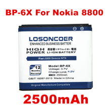 LOSONCOER 2500mAh BP-6X Battery / BP 6X Use for Nokia 8800 battery /8800 Sirocco/N73i / 8800SE /8800S / 8800D 8860 Battery(China)