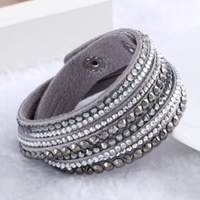 2015 New Leather Bracelet Rhinestone Crystal Bracelet Wrap Multilayer bracelets for women pulseras mulher Jewelry