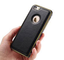 Luxury Bumper Aluminum Frame+ leather Back Case For iphone 6 Moblie Phone Cover Dual Hybrid  Shockproof I6 Shell