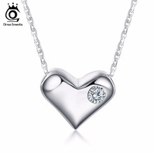 ORSA JEWELS Pure Smooth 925 Silver Love Heart Pendant with Charm Zircon Rhodium Sterling Silver Necklace for Women SN33