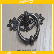 100pcs/Lot Antique Zinc Alloy Funiture Handle Bathroom cupboard Handle Ring Free Shipping(China)