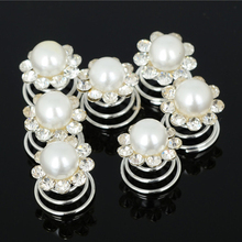 6Pcs Pearls Crystal Flower Wedding Bridal Spiral Hair Pins Twists Coils Swirl Hair Clips Fashion Jewelry Accessories