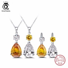 ORSA JEWELS 925 Sterling Silver Jewelry Sets For Female Water Drop Shape Big AAA Cubic Zirconia Luxury Women Wedding Gift SS07(China)