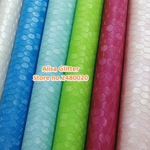 6pcs Alisa Glitter Embossed Honeycomb Leather Fabric Faux Synthetic Leather fit for DIY accessories Sewing GM049a(China)