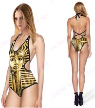Egypt Pyramid Swimsuit Halter Bandage One-piece Women Swimwear Golden Egypt Pharaoh Swimming Suit One Piece V Neck Cut-out