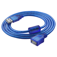 USB Extension Cable Copper Male to Female 30cm 1.5m 3m USB Extend Adapter Dual Shielding Transparent Blue Anti-interference