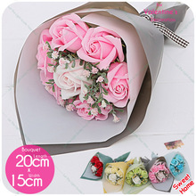 Handmade 7pcs Bath Soap Rose Flower Bouquet+Greeting Card Holding Flower For Mother's Day Gift /Wedding/Birthday Gifts Friends