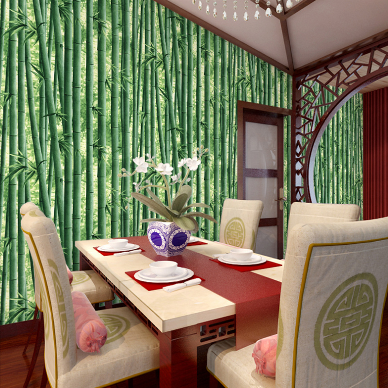 Chinese style classical natural bamboo wallpaper tv background rolls entertainment for Bedroom study room living room restaurant<br>