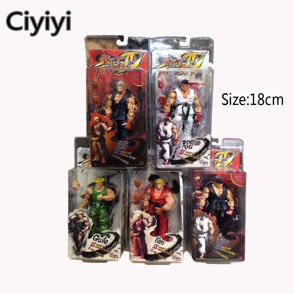 18cm Street Fighter IV Ken Ryu Guile Action Figure Model Toy Classic Game Street Fighter Hot Character Doll Collection Gift<br>