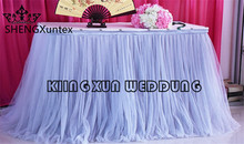 Silver Color Ice Silk Table Skirt With White Color Tutu Fabric Drape Decoration(China)